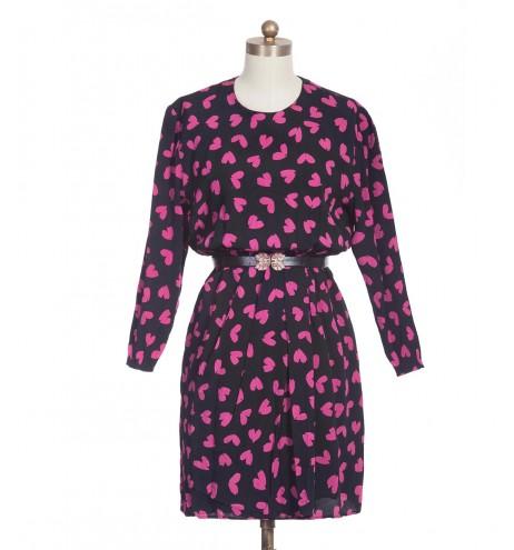 שמלת וינטג' לבבות ורודים