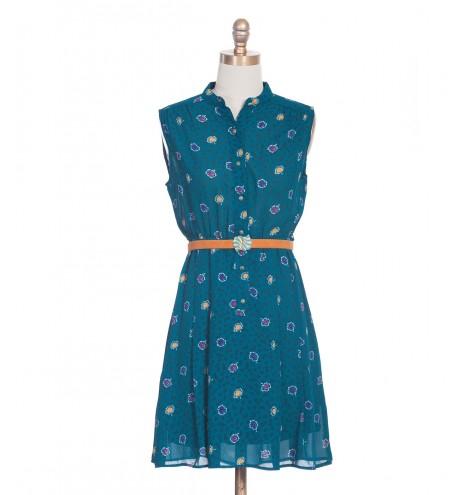 שמלת וינטג' שלכת צבעונית