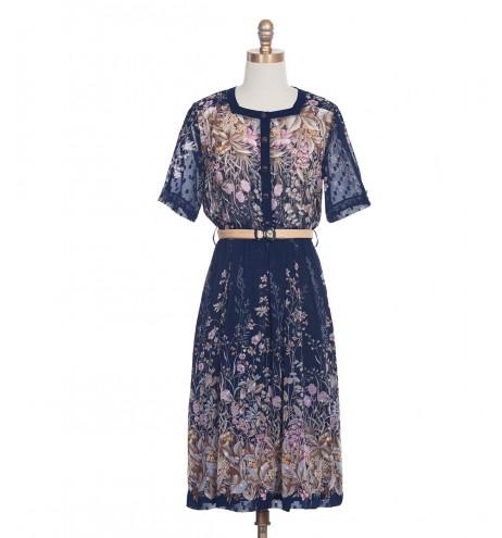 שמלת וינטג' צווארון מרובע