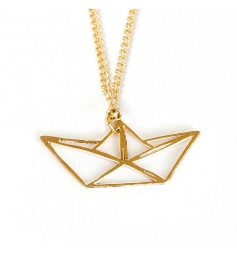 שרשרת סירת אוריגמי זהב