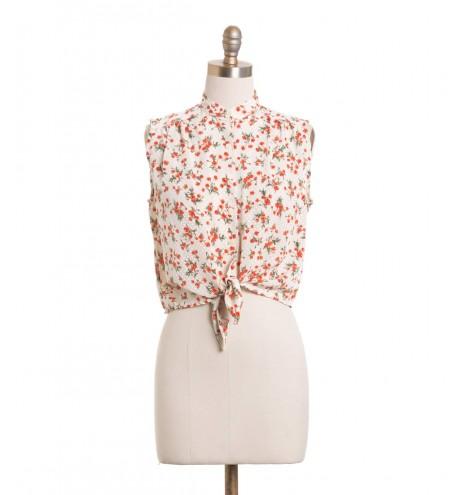 חולצת וינטג' פרחים כתומים