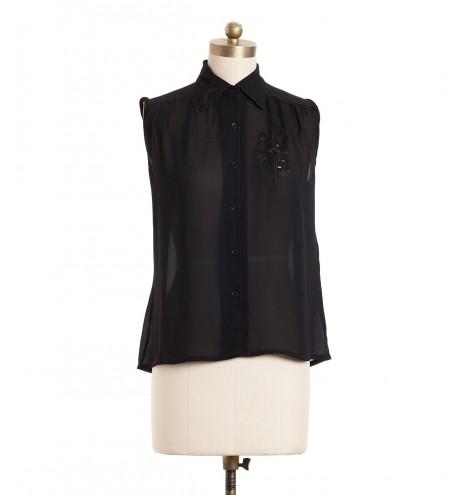 חולצת וינטג' רקמה שחורה