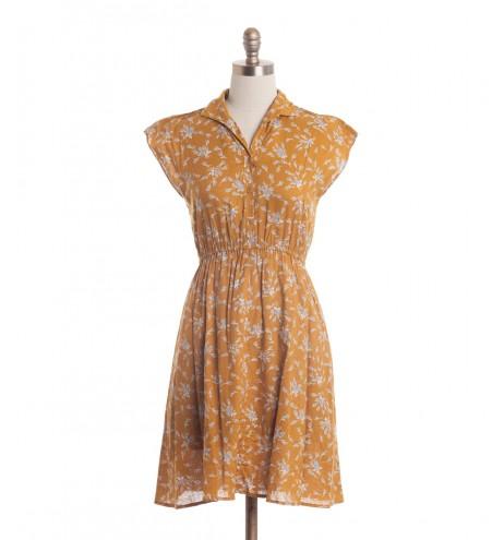 שמלת וינטג' חרדל פרחונית