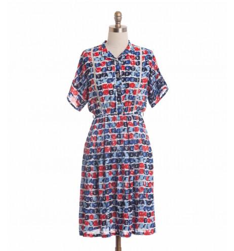 שמלת וינטג' קוביות