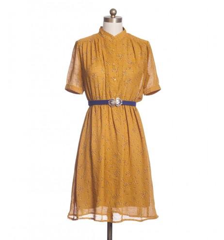 שמלת וינטג' צווארון גלי