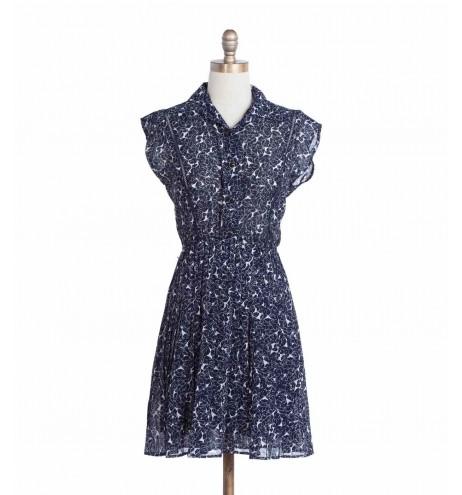 שמלת וינטג' עלים כחולים