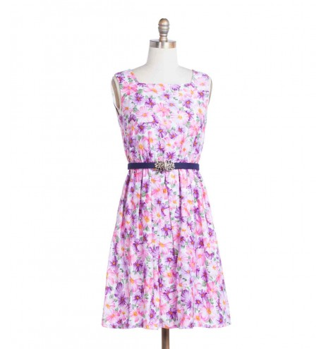 שמלת וינטג' מחשוף מרובע