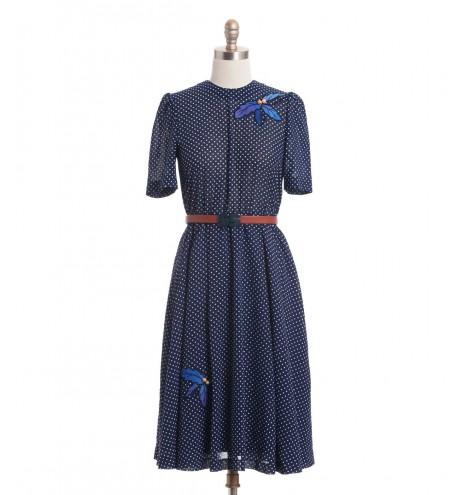 שמלת וינטג' חרוזי עץ