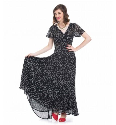 שמלת פריסילה שחור מודפס