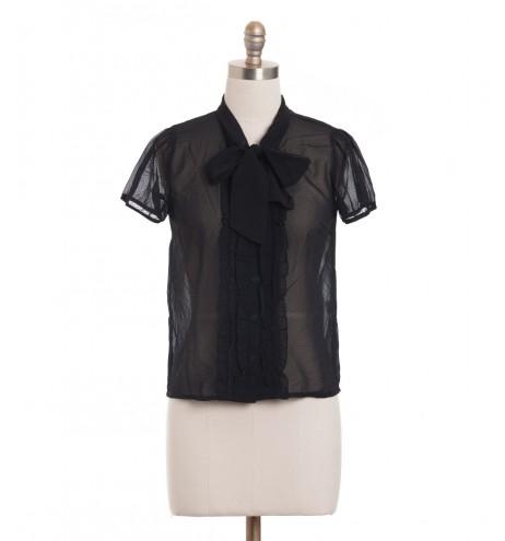 חולצת וינטג' שחורה מנוקדת
