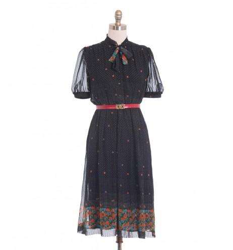 שמלת וינטג' פרחונית מנוקדת