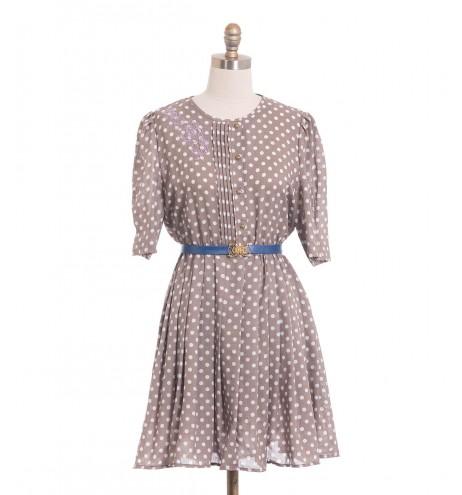 שמלת וינטג' רקמה ונקודות