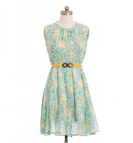 שמלת וינטג' פרחי מים
