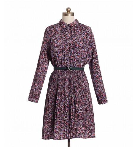 שמלת וינטג' פרחונית פליסה