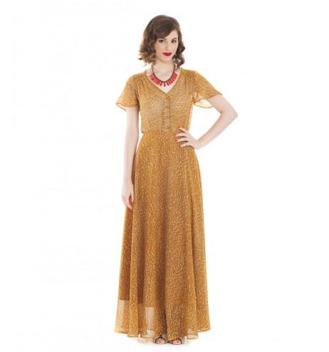 שמלת פריסילה חרדל לבבות