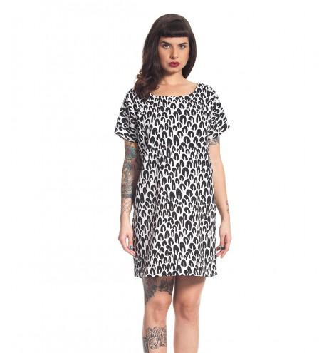 שמלת אוברסייז שחור לבן