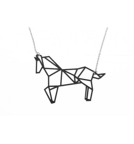 שרשרת סוס אוריגמי שחור