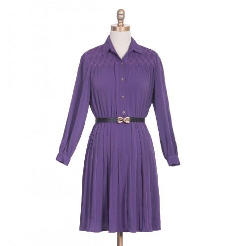 שמלת וינטג' רקמה סגולה