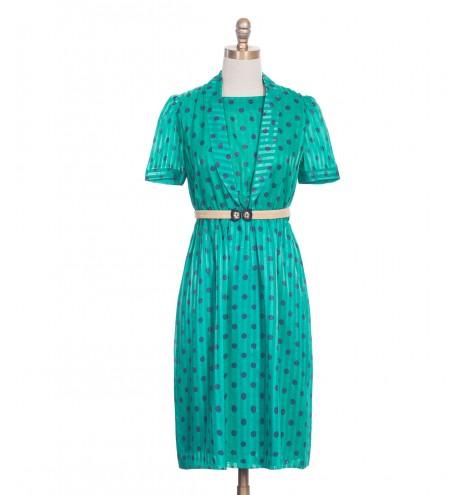 שמלת וינטג' נקודות כחולות