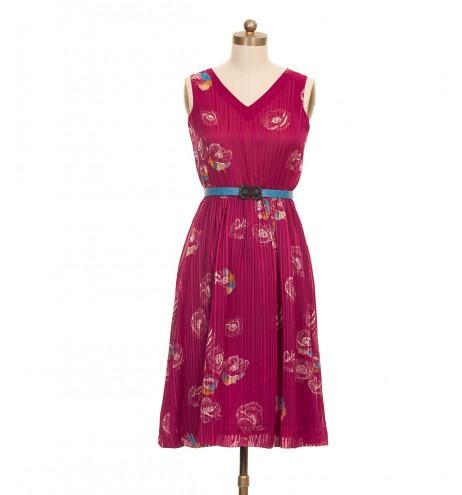 שמלת וינטג' פרחים ויין