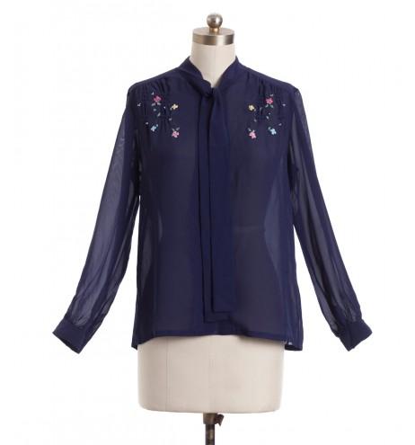 חולצת וינטג' פרחים רקומים