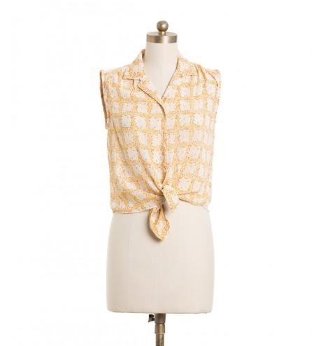 חולצת וינטג' פרחים צהובים
