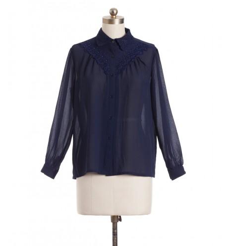 חולצת וינטג' רקמה כחולה