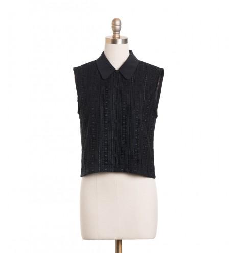 חולצת וינטג' שחורה תחרה