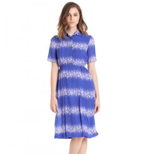 שמלת וינטג' פרחים ורודים
