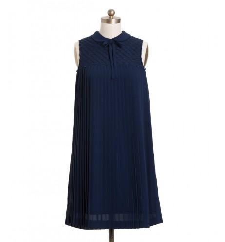 שמלת וינטג' כחול פליסה