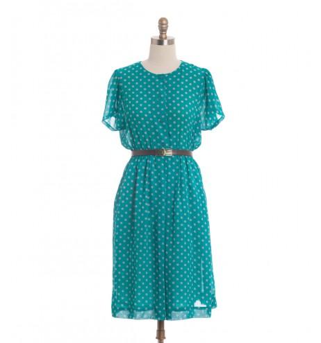 שמלת וינטג' נקודות אפורות
