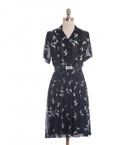 שמלת וינטג' ציפורים