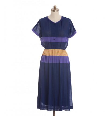 שמלת וינטג' קולור בלוק