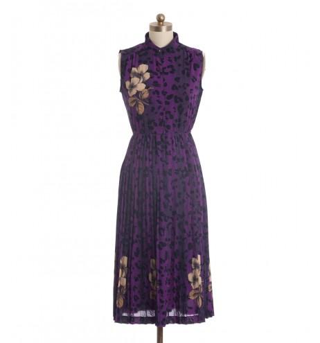 שמלת וינטג' סגולה מנומרת