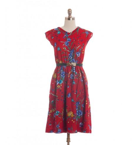 שמלת וינטג' אדום לוהט