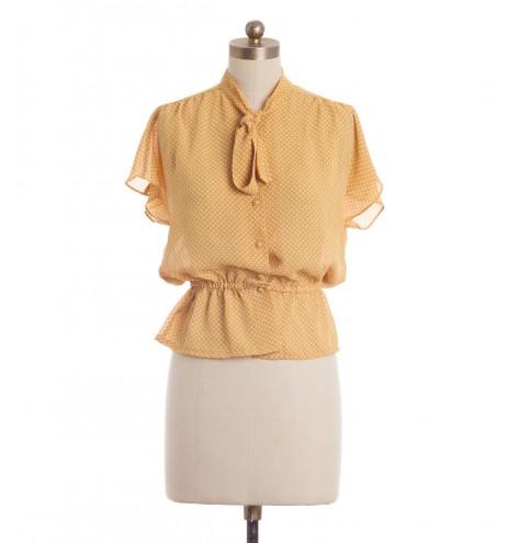 חולצת וינטג' פולקה צהובה