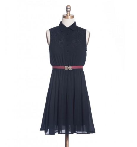 שמלת וינטג' רקמה שחורה