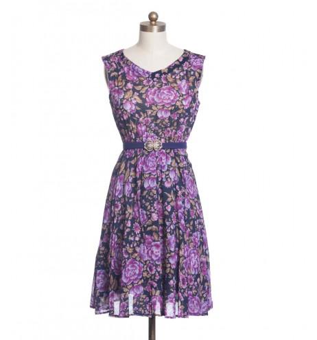 שמלת וינטג' כפתורים בגב