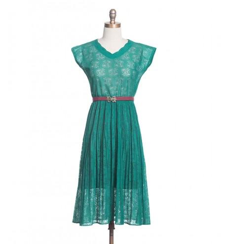 שמלת וינטג' תחרת טורקיז