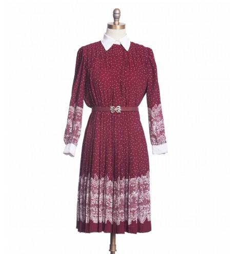 שמלת וינטג' הדפס תחרה