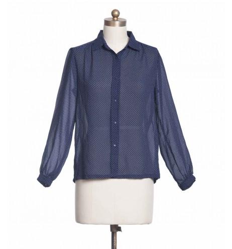 חולצת וינטג' כחולה נקודות