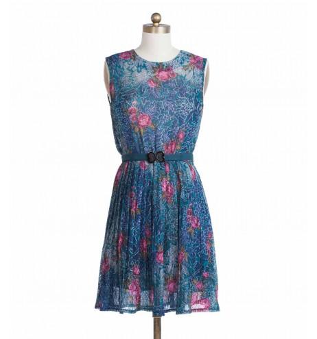 שמלת וינטג' תחרה צבעונית