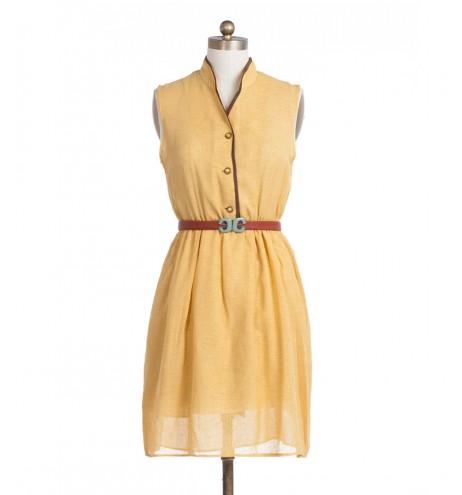 שמלת וינטג' חרדל