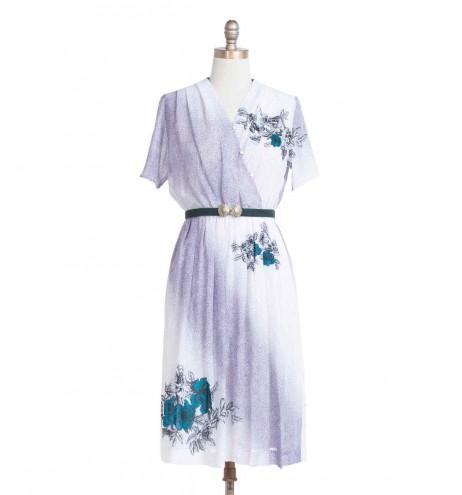 שמלת וינטג' פרחים ונקודות