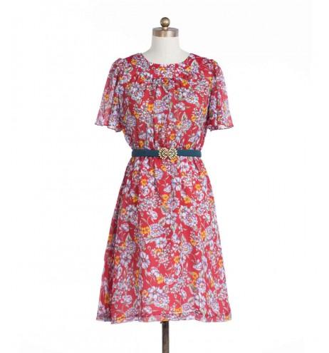 שמלת וינטג' אדומה פרחונית