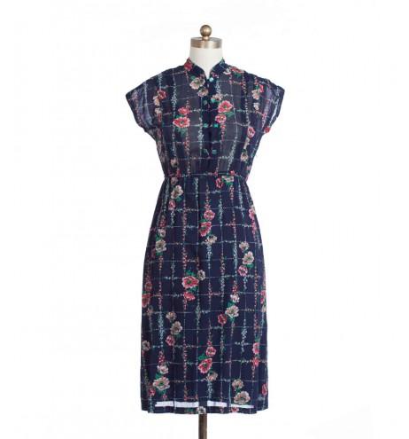 שמלת וינטג' משבצות פרחוניות