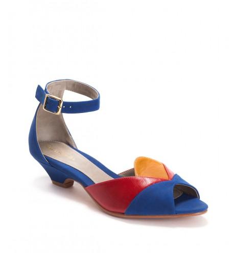 נעלי סהרה כחול- אדום- קרמל