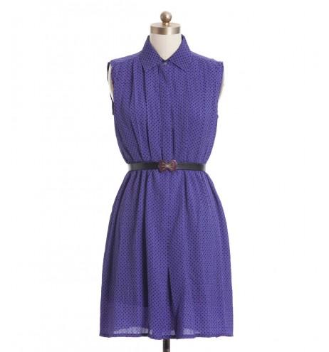 שמלת וינטג' סגולה מנוקדת