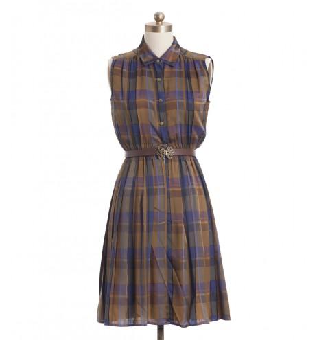 שמלת וינטג' משובצת