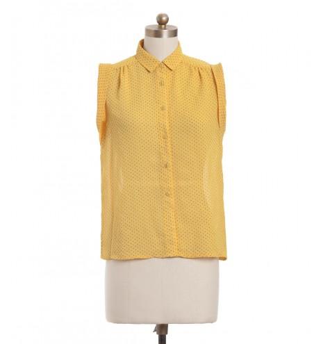 חולצת וינטג' צהובה מנוקדת